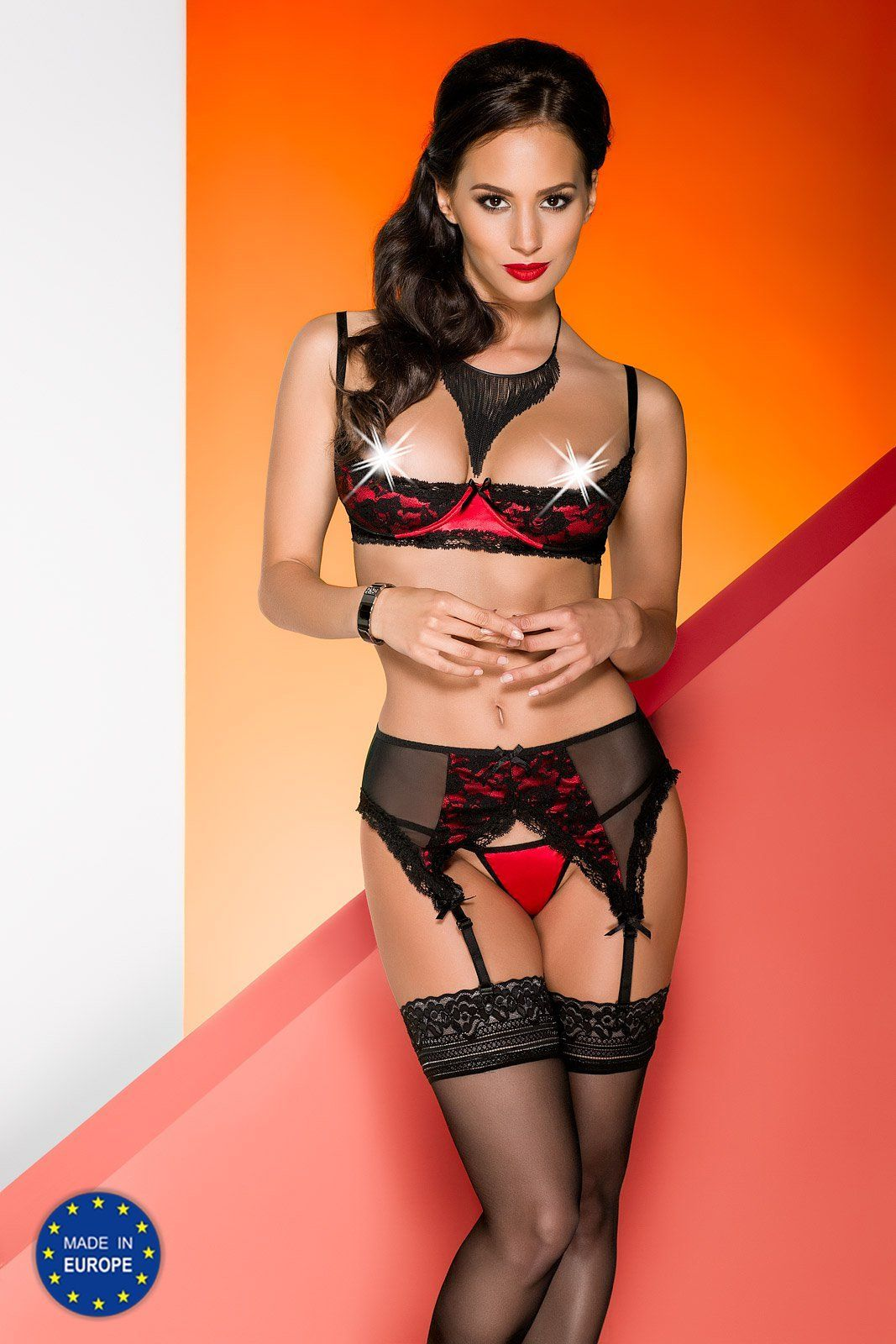 комплект karmina set with open bra red
