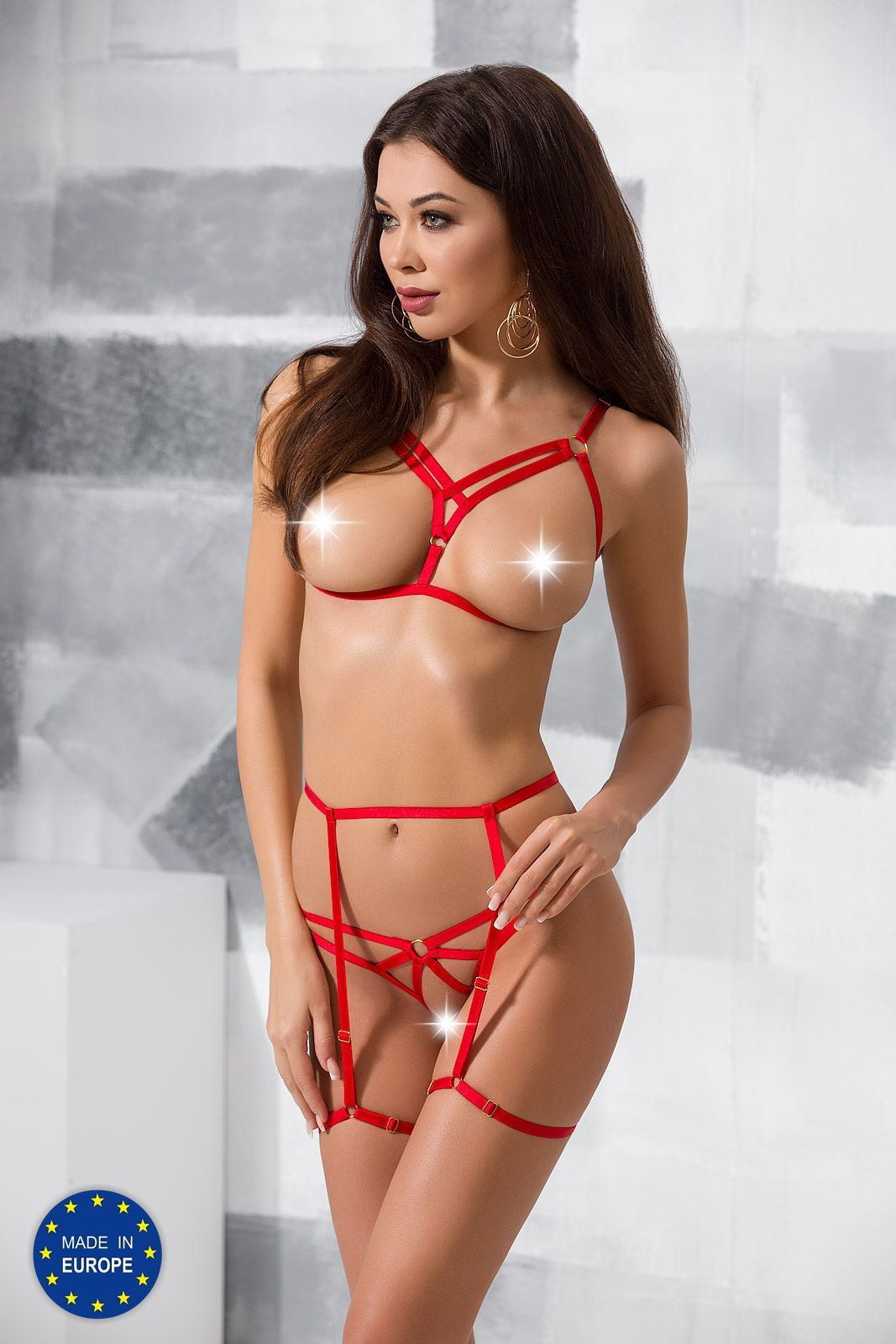 комплект magali set with open bra red