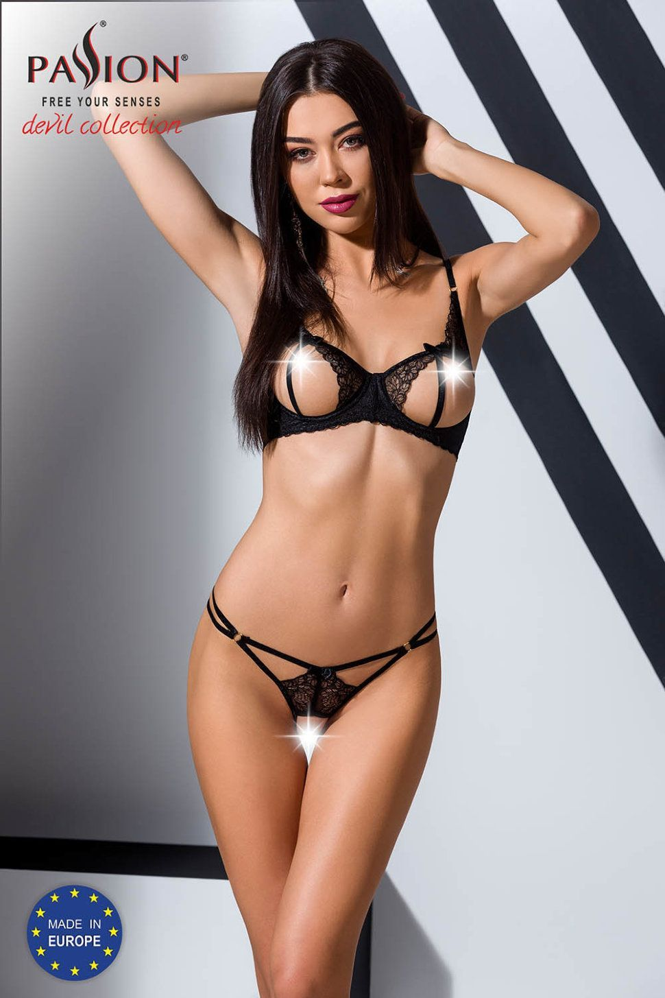 комплект esmeralda set with open bra black